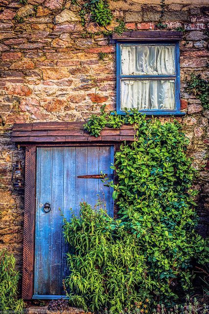 Beautiful blue door and window found on an English Country Home in Brixham Devon England & Pin by Hülya Özkan on kapi | Pinterest