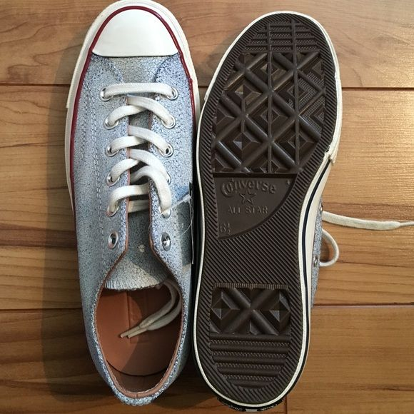 Description  All leather Converse Oxford Egret Navy Light blue crackly  leather. Women s Brand new with tags and box. a10e1997f8