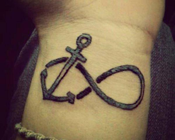tatouage poignet infini ancre