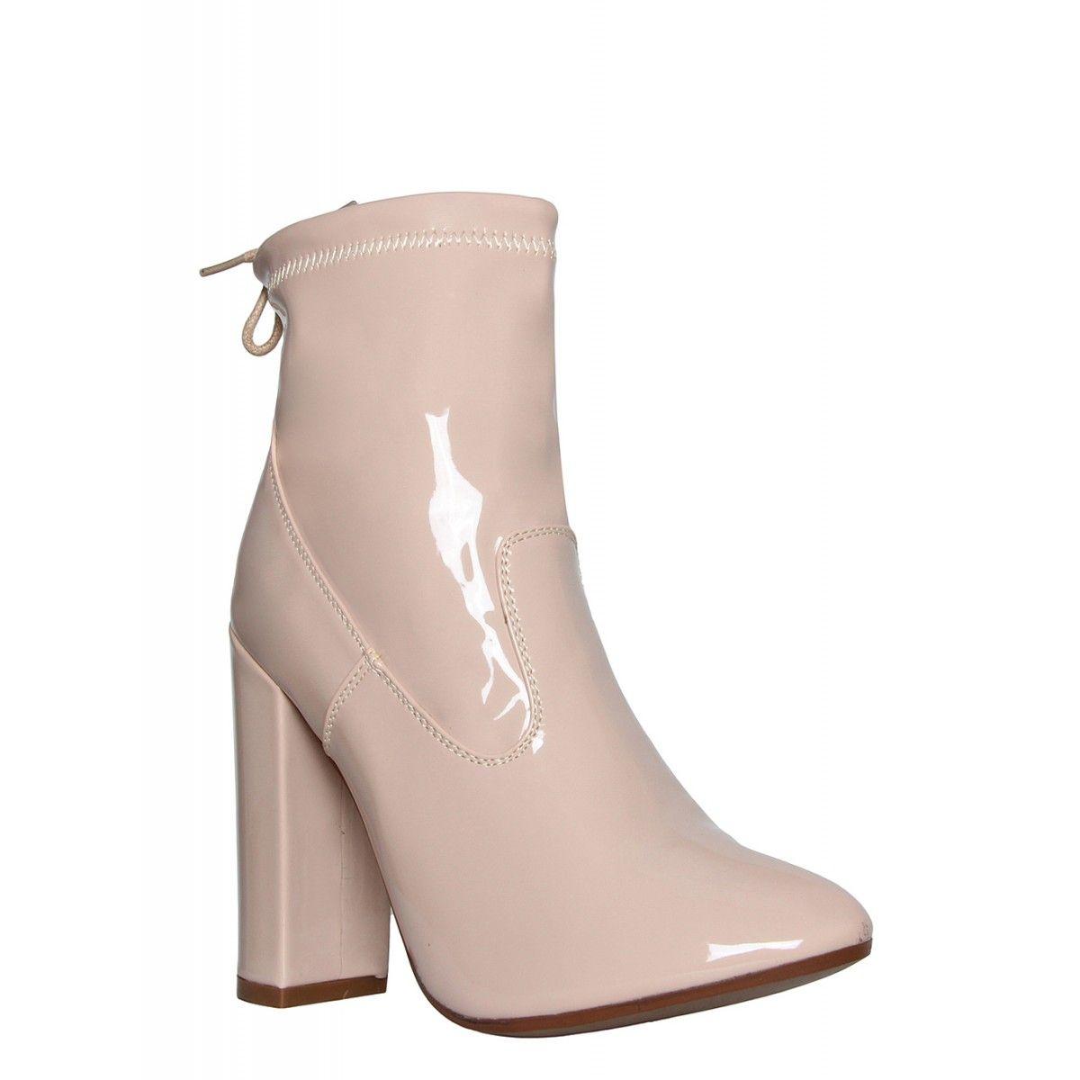 e729063879e Georgia Nude Patent Block Heel Ankle Boots   Simmi Shoes