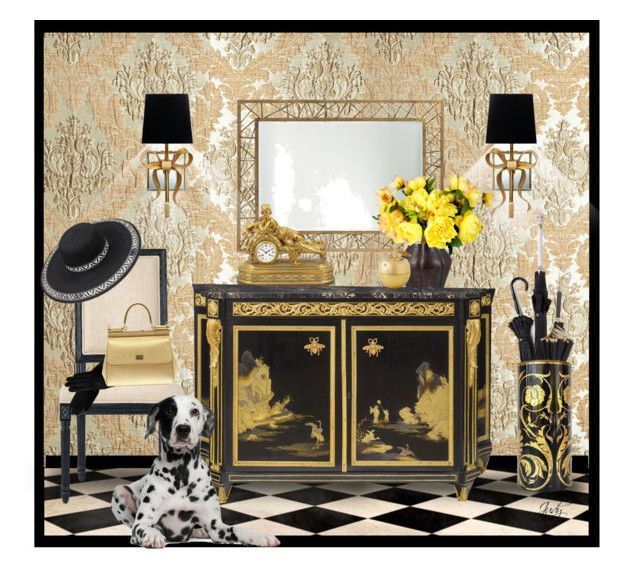 """""""Welcome to Our Home: Vignette with Dresser"""" by judymjohnson ❤ liked on Polyvore featuring interior, interiors, interior design, home, home decor, interior decorating, Dian Austin Couture Home, Alexander McQueen, Pasotti Ombrelli and Arteriors"""
