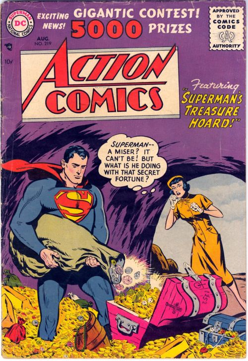 Action Comics #219, August 1956,  Pencils:Wayne Boring, Inks:Stan Kaye