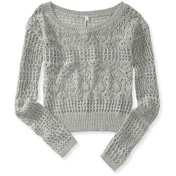 Aeropostale Sheer Cropped Sweater (38 BRL) ❤ liked on Polyvore featuring tops, sweaters, shirts, lightest heather grey, ribbed sweater, crochet crop top, sheer shirt, cropped sweater and cropped camisoles