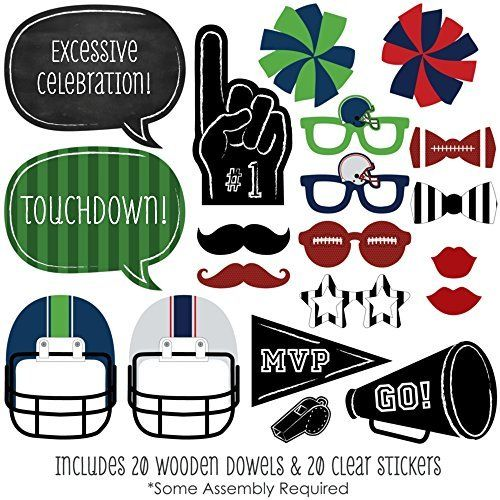 Amazon.com: Super Bowl Party - Photo Booth Props Kit - 20 Count ...