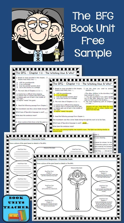 Free Sample from The BFG Book Unit | Grades 3-6 | Pinterest | Books ...