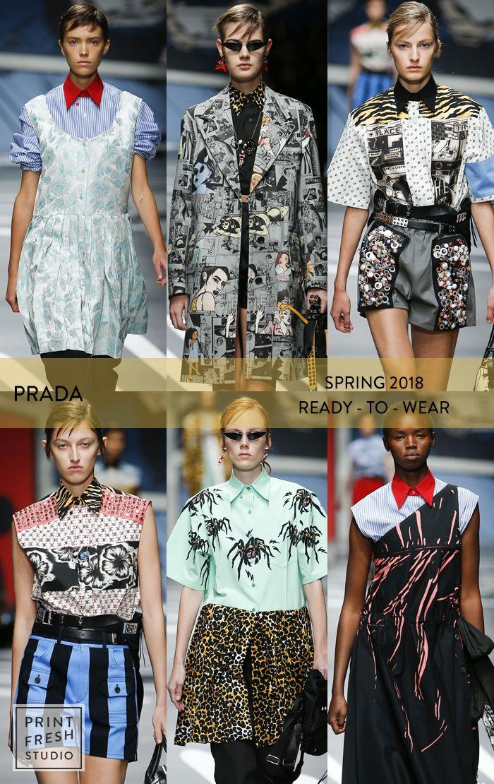 cdfa6d06e063 Spring 2018 Ready-to-wear Runway Print   Pattern Trends- Prada Images   vogue.com comic book dress