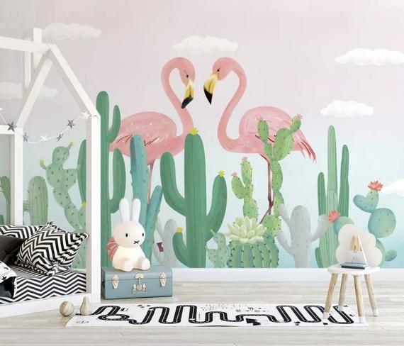 Kids Wallpaper Flamingo Wall Mural Cactus Desert Wall Art