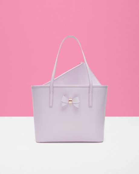 Small Bow Detail Leather Shopper Bag Lilac Bags Ted