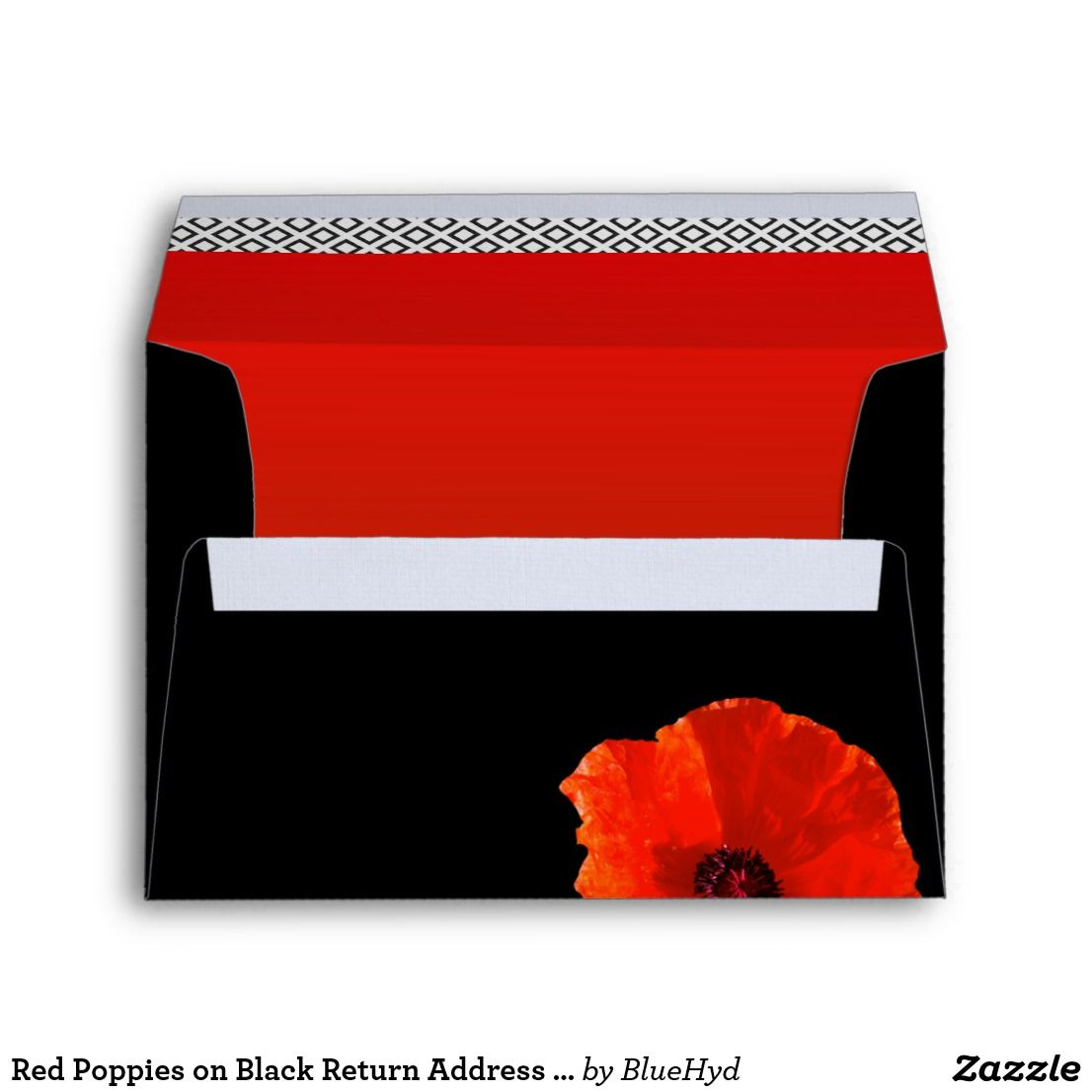 Red poppies envelope in red, black and white. This A7 (5x7 inches ...