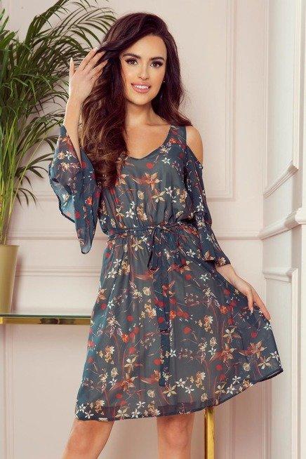 Zwiewna Szyfonowa Sukienka W Kwiaty Rozciete Rekawy Sukienki Shop Mini Dress With Sleeves Dresses Cold Shoulder Floral Dress