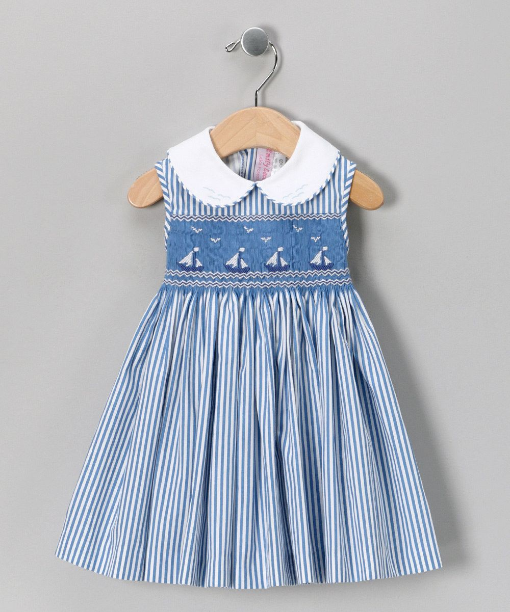 Emily Lacey Blue Smocked Sailboat Dress Infant Mom N Bab Blouse Layla White Size 3t Toddler Girls Daily Deals For Moms Babies And Kids