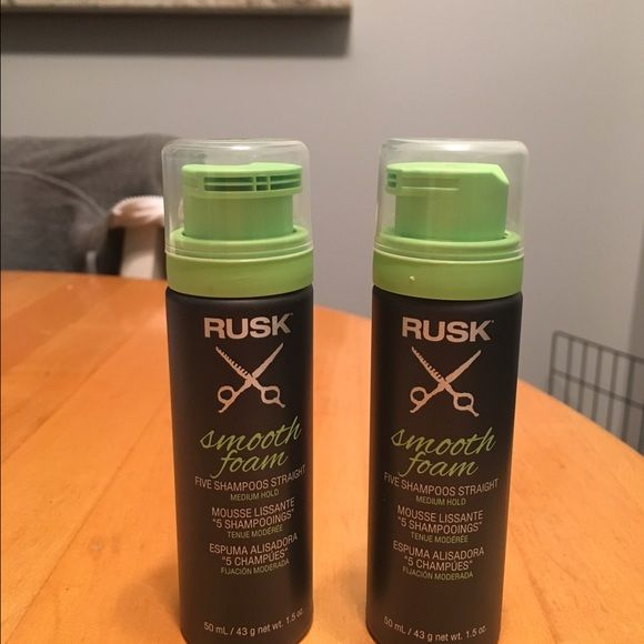 Rusk Smooth Foam Six 1.5oz cans of Rusk smooth foam. Keeps your hair straight for up to 5 shampoos! Accessories