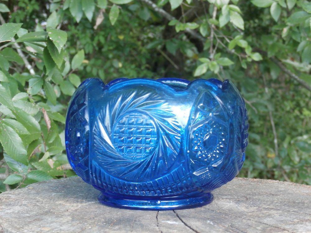 Blue Fenton Glass Rose Bowl Flower Vase Hobstar Design Rosebowl