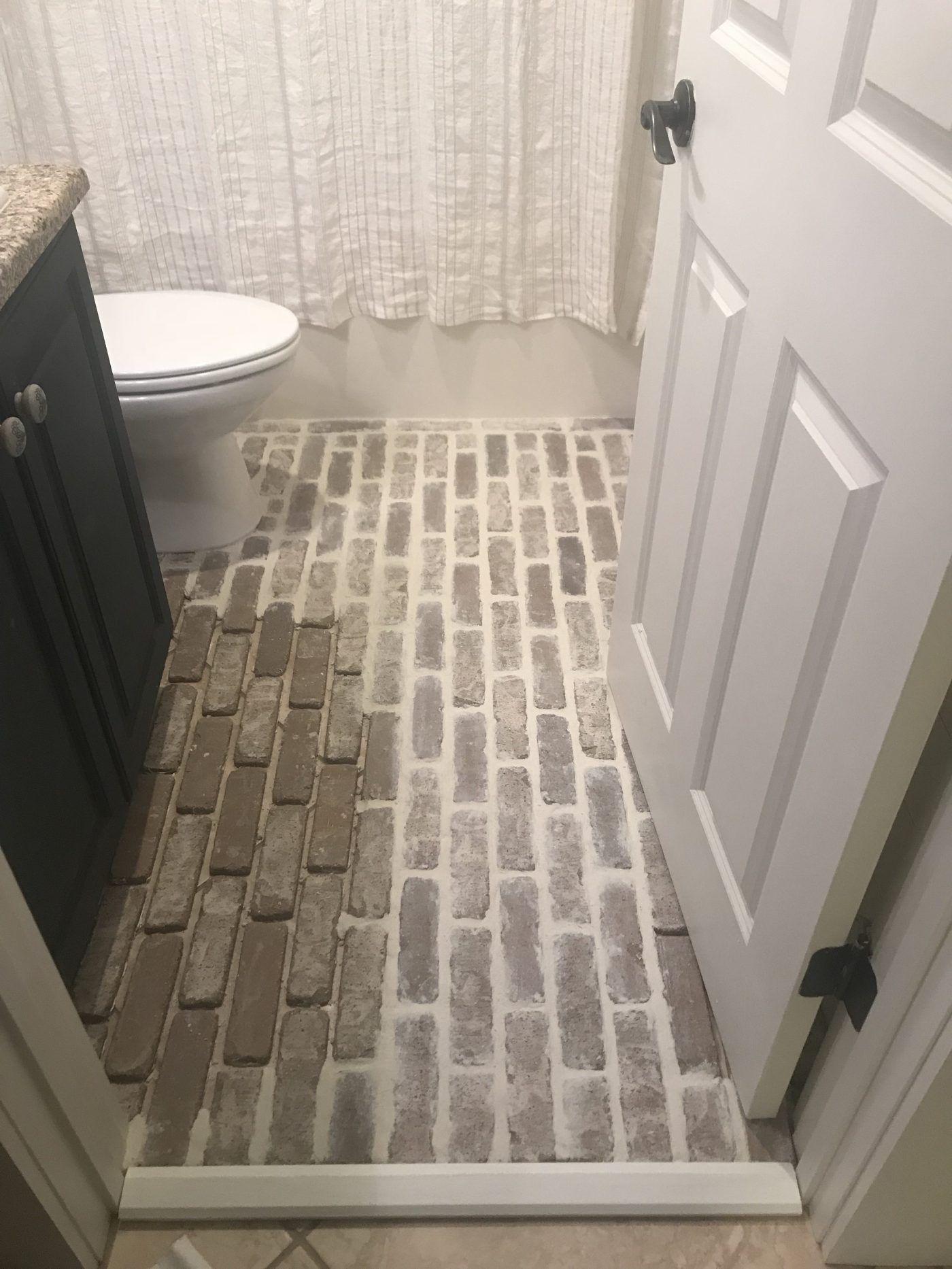 Diy Brick Floors Over Tile Carla S Coastal Creations In 2020 Brick Bathroom Brick Flooring Tile Bathroom
