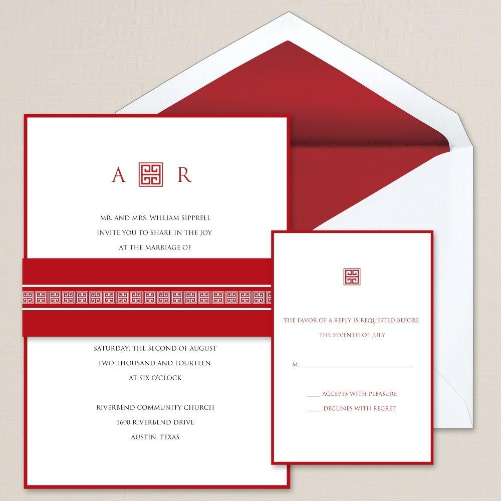 Greek Beauty Wedding Invitation | #exclusivelyweddings | #redwedding ...