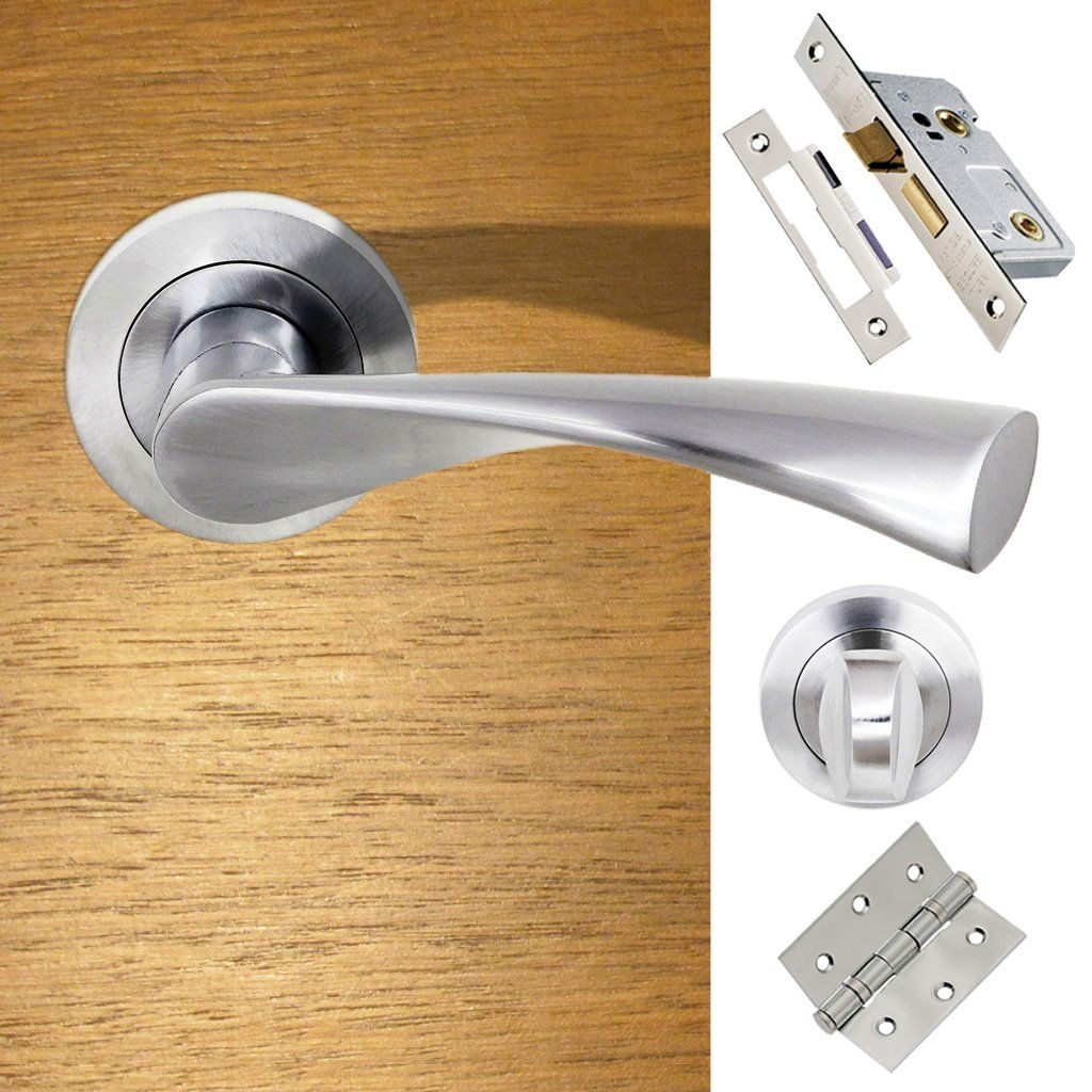 Colorado Status Bathroom Lever On Round Rose Satin Chrome Pack Door Handathroom Doorsfire