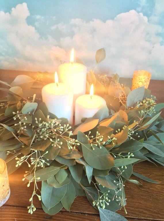 Photo of Fresh Eucalyptus Wreath, seeded eucalyptus wreath, silver dollar wreath, diy wedding, fresh greenery wedding decorations