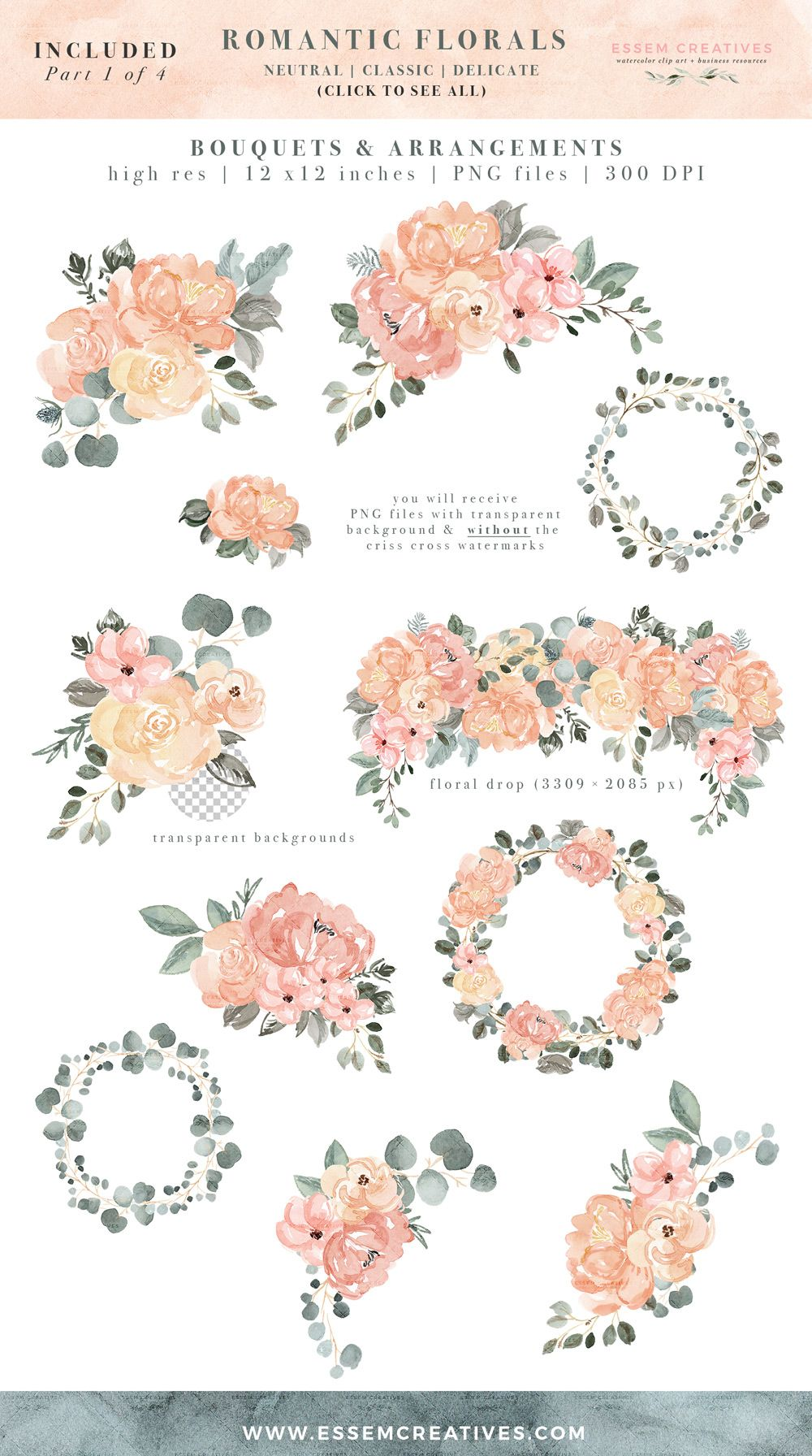 This Is A Set Of Watercolor Floral Clip Art Digital Graphics Set Instant Download You Will R Floral Watercolor Floral Wreath Watercolor Watercolor Clipart