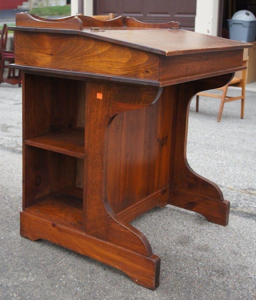Vintage Pine Davenport Style Captains Desk Slant Top W Side Storage Mid Century