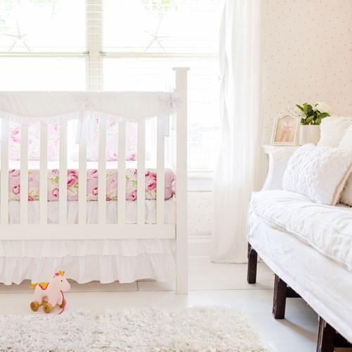 Girl White Bumperless Crib Baby Bedding Set White Crib Bedding