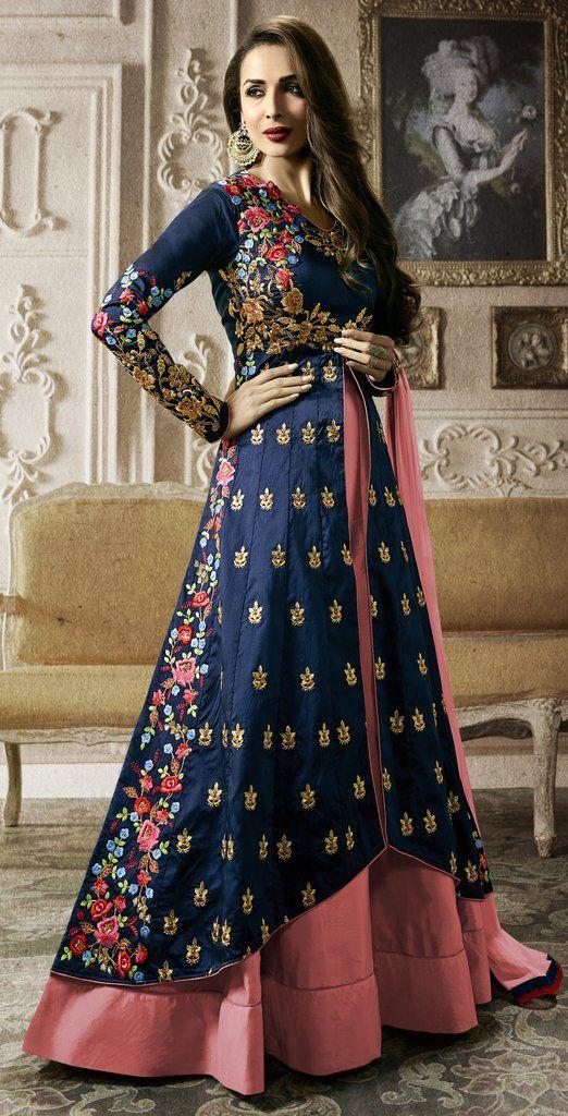 3326c24321 Navy Blue & Onion Pink Designer Embroidered Lehenga Style Anarkali Suit