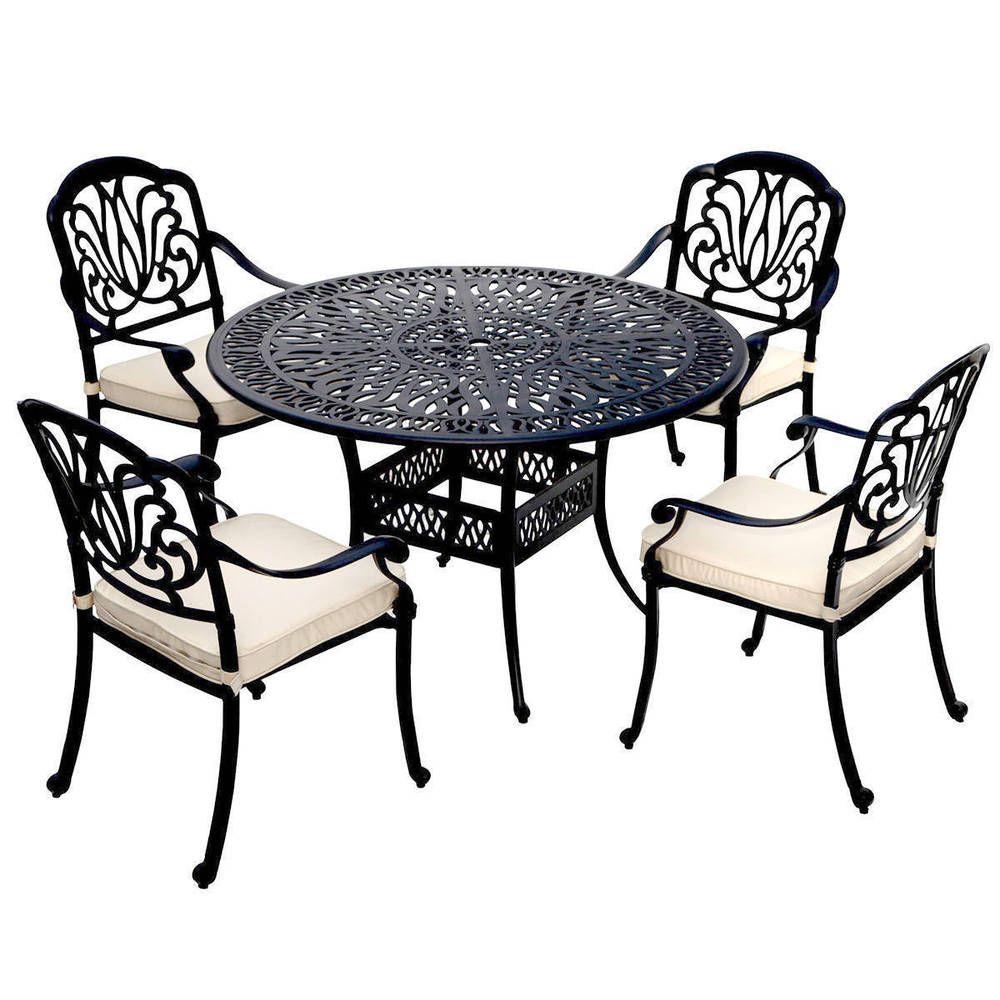 Metal 5 Piece Dining Set Cast Aluminium Garden Armchairs