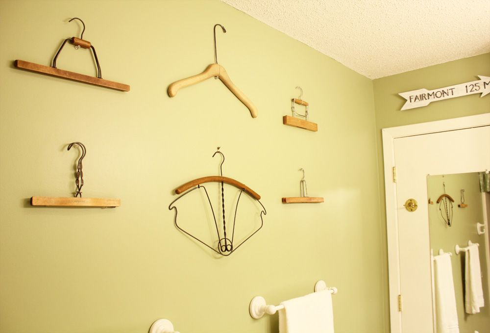 Vintage hanger display- cute idea for a laundry room.   Collections ...