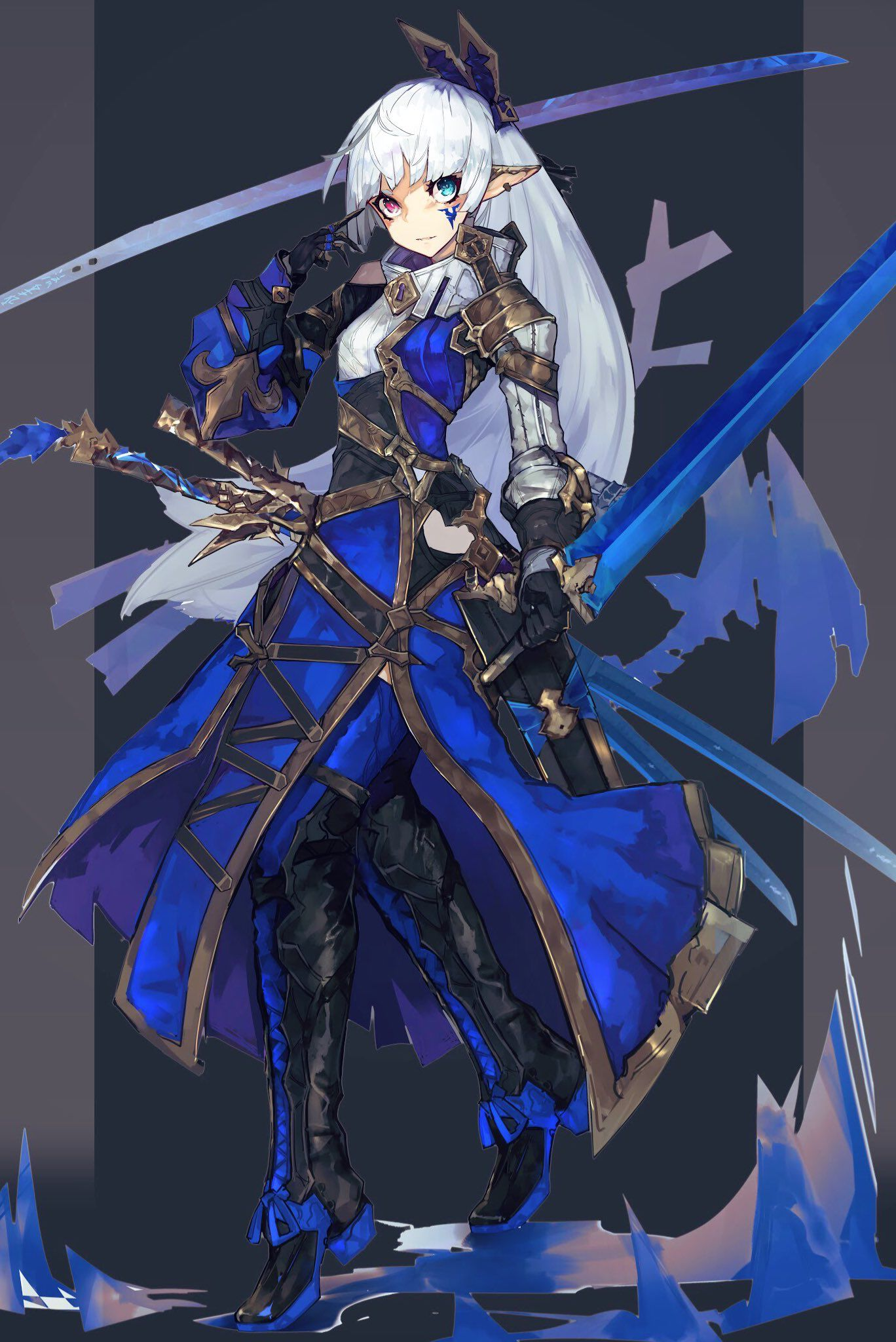 Costume coat anime warrior anime elf character art