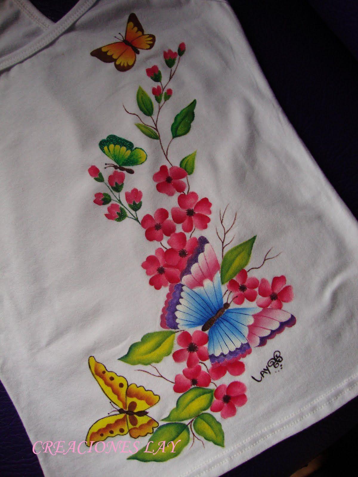 Creaciones lay mariposas y flores pintar blusa pinterest pintura en tela pintar en tela - Como pintar sobre tela ...