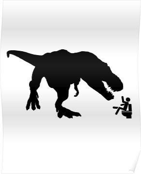 Jurassic Park T-rex Eats Man on Toilet Funny Poster #jurassicparkworld