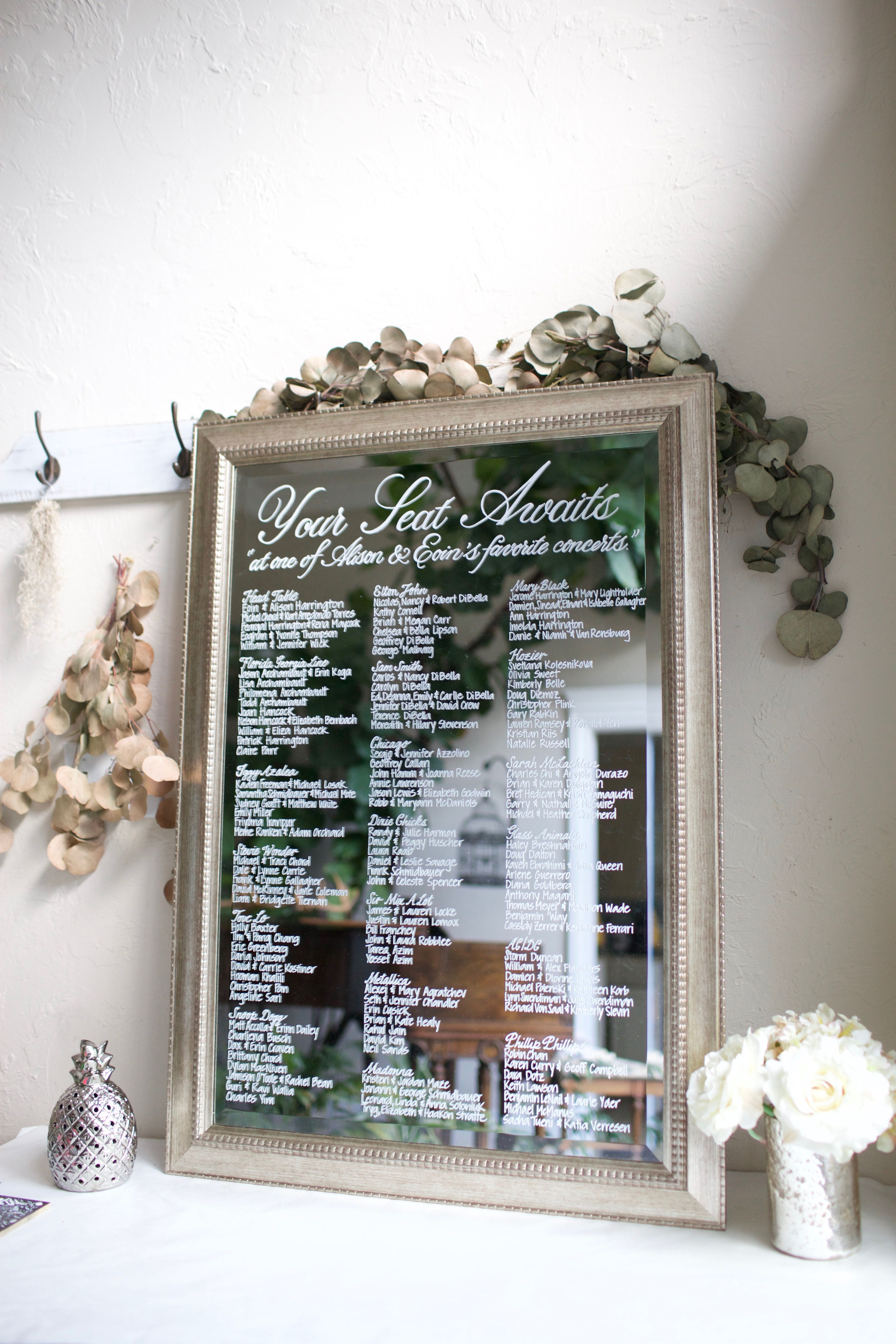 Modern Silver Framed Mirror Escort Sign Hand Painted Personalized Wedding