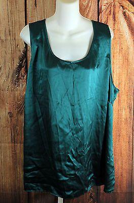 Talbots Aqua Green Silk Sleeveless Tank Top Plus Size 24W
