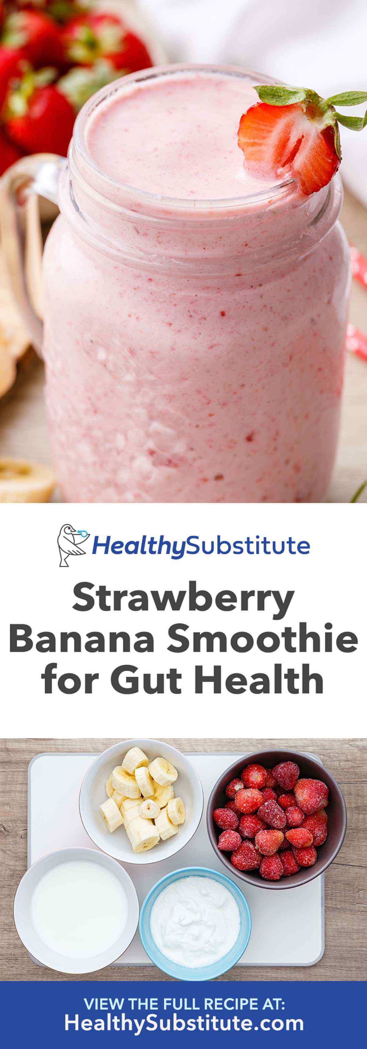 Probiotic-Rich Greek Yogurt Strawberry Banana Smoothie - Healthy Substitute #strawberrybananasmoothie Probiotic-Rich Greek Yogurt Strawberry Banana Smoothie - Healthy Substitute #strawberrybananasmoothie