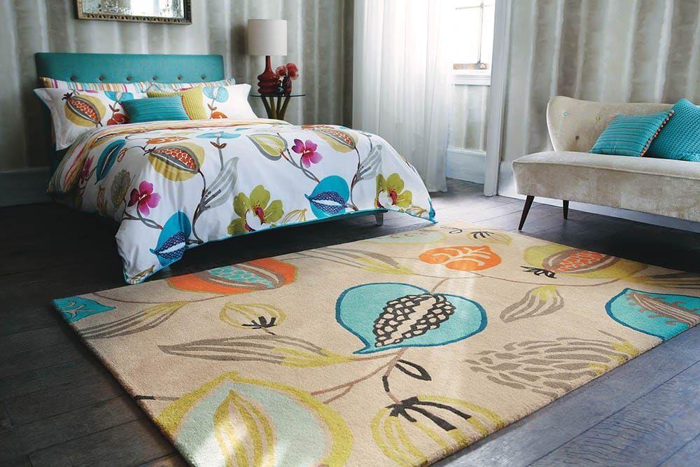 Der Harlequin Design Teppich Tembok Turquoise in Braun ist ein - schlafzimmer teppich