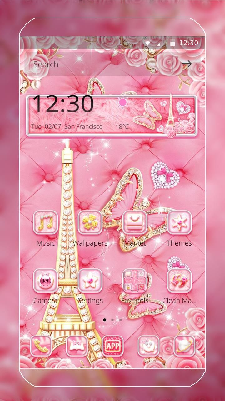 Lovely Pink Diamond Theme With Pink Butterflies Pink Roses Gold Eiffel Tower Shiny Heart So Cute Pink Butterfly Theme Butterfly Wallpaper Theme