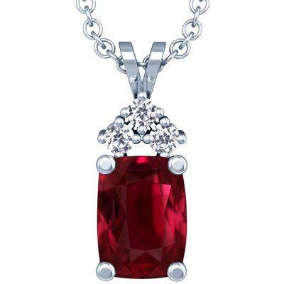 18K White Gold Cushion Cut Ruby And Round Diamond Pendant | Your #1 Source for Jewelry and Accessories
