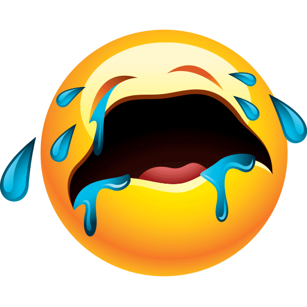 This sobbing smiley is inconsolable!