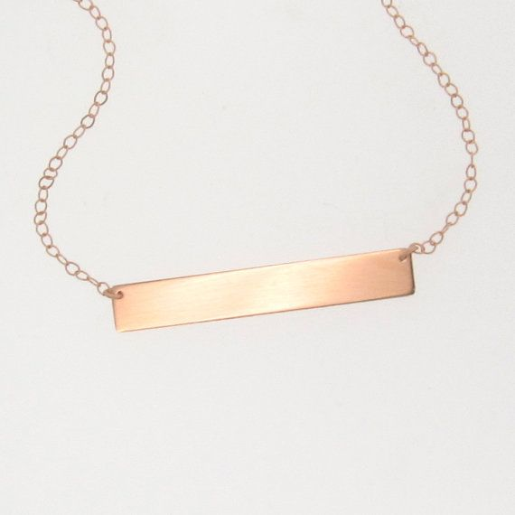 Gold nameplate necklace gold bar necklace in 14k yellow white or engravable 14k rose gold nameplate necklace as seen on kim kardashian can be engraved aloadofball Image collections