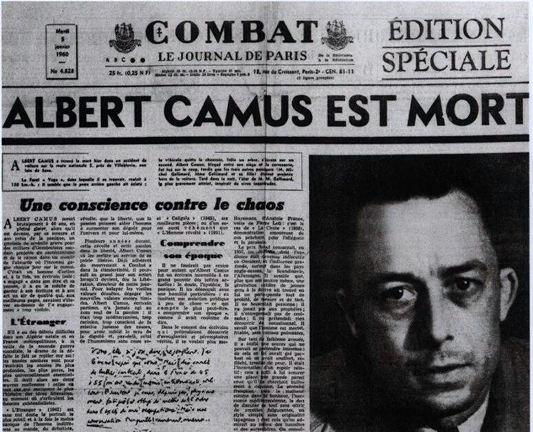 Αποτέλεσμα εικόνας για ALBERT CAMUS EST MORT