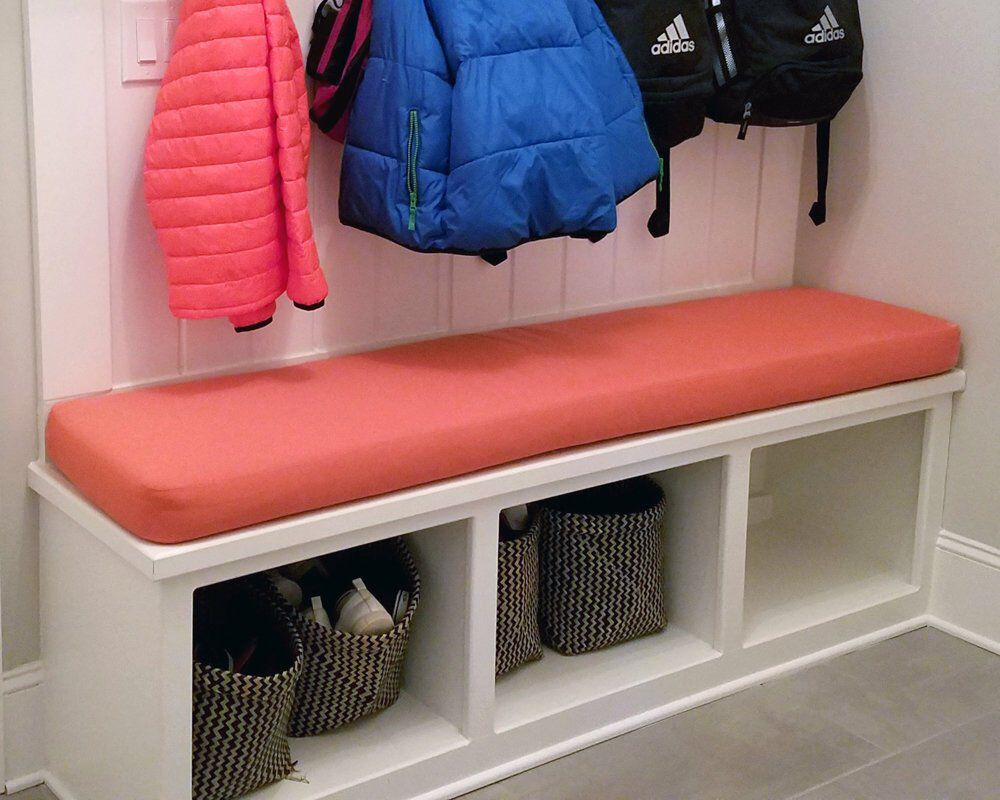 Sunbrella Custom Cushion Mudroom Bench / Window Seat