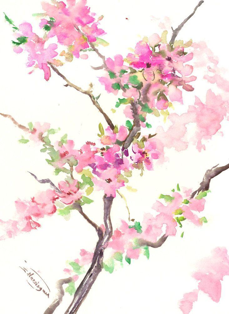Cherry Blossom Artwork Sakura Japanese Watercolor Art Asian