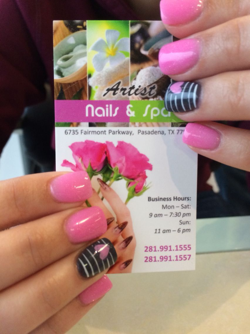 Pink and dark gray nails with stripes and heart design | ARTIST ...