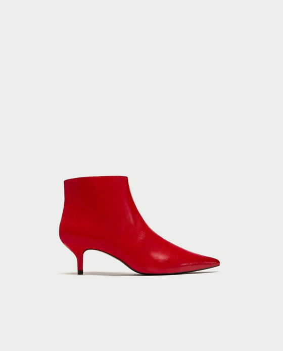 25d30beda7a RED MID-HEEL ANKLE BOOTS