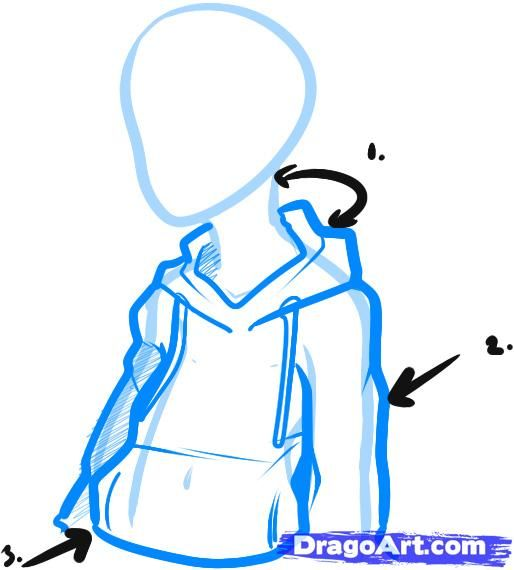 How To Draw A Hoodie Draw Hoodies Step By Step Fashion Pop Culture Free Online Drawing Tutori Hoodie Drawing Reference Drawing Anime Clothes Person Sketch