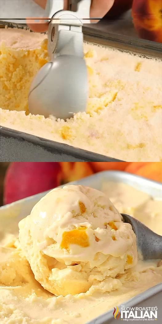 No-Churn 2-Ingredient Peaches & Cream Ice Cream is rich, thick and amazingly delicious. And it does NOT use sweetened condensed milk. This glorious ice cream is speckled with fresh peaches and it's so good you may never get store bought again! This simple recipe comes together in a flash and is sure to be your go-to summer ice cream recipe. #IceCream #Peaches&Cream