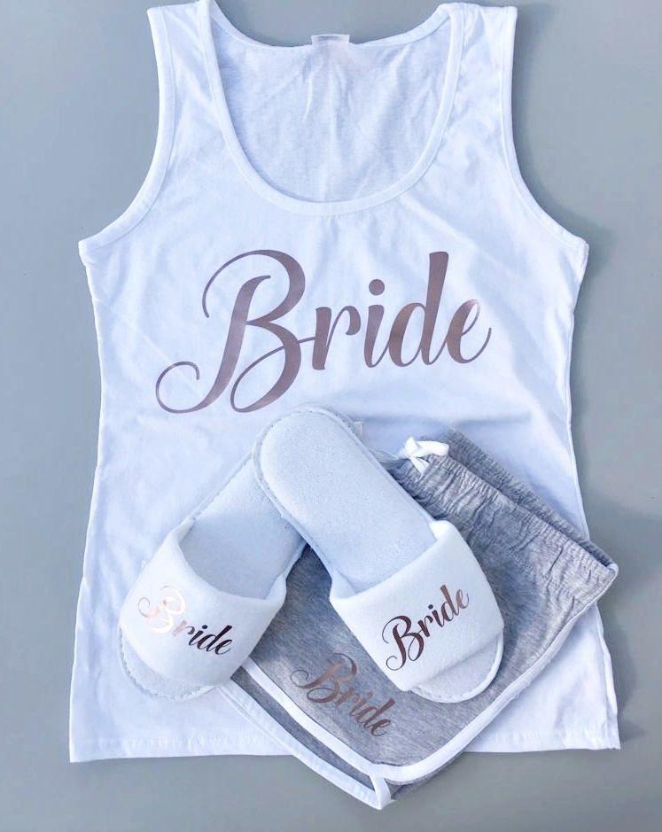 Bridesmaid PJS Bride Pyjamas Hen Party Pjs. Personalised Bride PJS Bridal Bride Robe Floral Vest Pyjamas Bridesmaid Gift Rose Gold