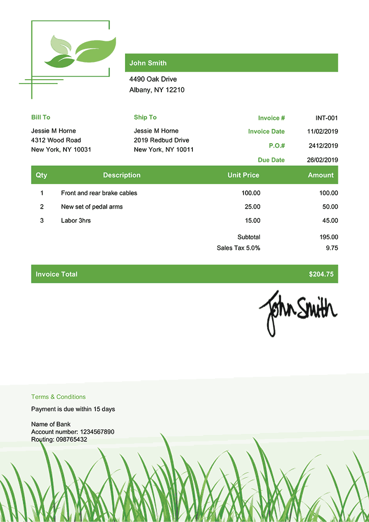Invoice Template En Green Grass Invoice Template Receipt Template Estimate Template