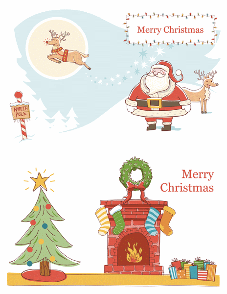 Christmas Cards Template With Santa And Christmas Tree Art Work  Christmas Card Templates For Word