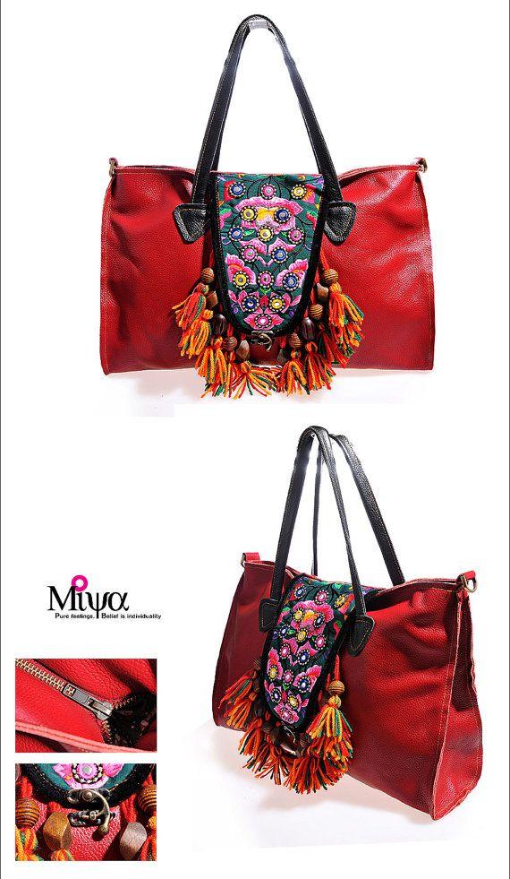 Miya\'s Original Ethnic Hmong Embroidered Bag Leather Purse ...