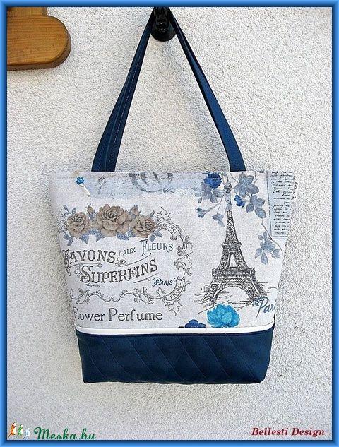 fd80472c8e36 Párizs mintás nagy pakolós táska - kék (BellestiDesign) - Meska.hu #handmade